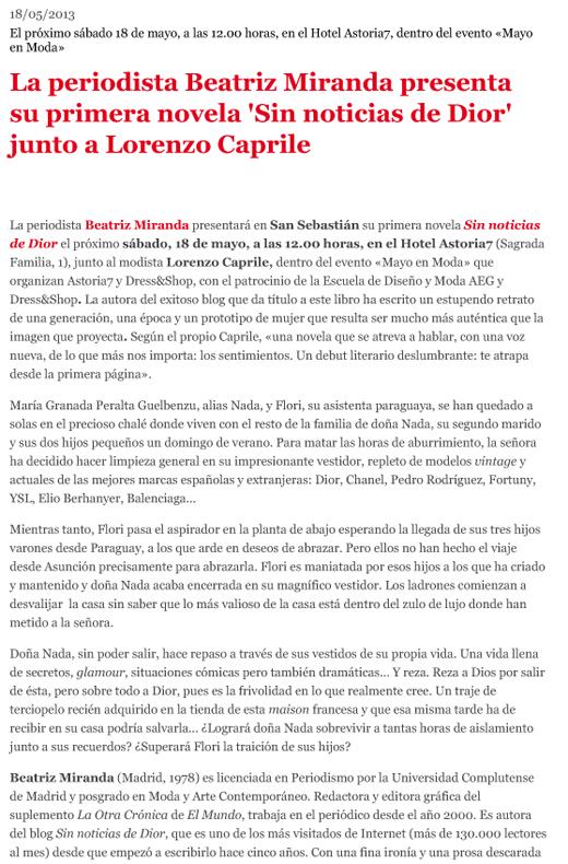 La periodista Beatriz Miranda presenta su primera novela 'Sin noticias de Dior' junto a Lorenzo Caprile